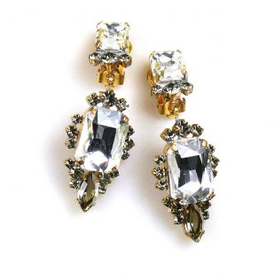 Allisa Earrings Clips ~ Clear Crystal with Smoke