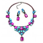 Neon Flame Necklace Set ~ Neon Fuchsia Aqua ~ Black Plated