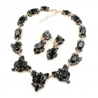 Mythique Set Lite ~ Necklace and Earrings ~ Black