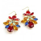 Susanne Multicolor Pierced Earings ~ Red Topaz Blue