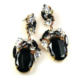 Fiore Pierced Earrings ~ Black Ovals