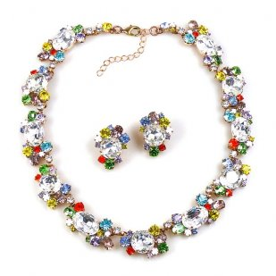 Romantique Choker with Earrings ~ Multicolor