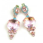 Taj Mahal Earrings Pierced ~ Pink with Aqua