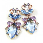 Floralie Earrings Pierced ~ Sapphire and Colors