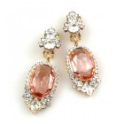 Ovals Clips-on Earrings ~ Crystal Pink