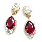 Tears Clips-on Earrings ~ Crystal Ruby Red