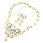 Arwen Necklace Set with Earrings ~ Clear Crystal ~ Gold Plated