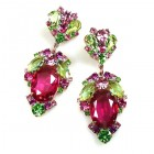Mythique Earrings for Pierced Ears ~ Fuchsia Green