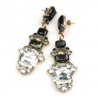 Xanthe Earrings Pierced ~ Crystal Smoke Black