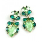 Floralie Earrings Pierced ~ Green Tones