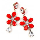 Flowers Earrings Pierced ~ Red