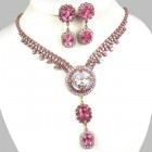 Natalie Set ~ Crystal with Pink