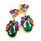 Fountain Clips-on Earrings ~ Fruit Cocktail with Emerald