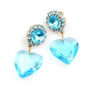 Hearts ~ Aqua Dangling Valentine Earrings for Pierced Ears