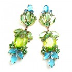 Iris Grande Pierced Earrings ~ Silver Lime Aqua