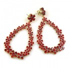 Tiny Flowers Earrings Pierced ~ Ruby Red