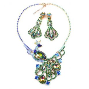 Peacock Necklace with Long Earrings ~ Emerald and Vitrail