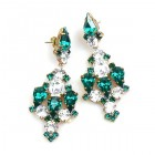 Fatal Kiss Earrings Pierced ~ Emerald Clear Crystal