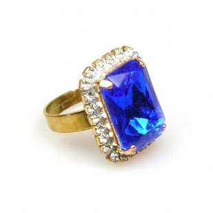 Zenith Ring ~ Clear Crystal with Blue