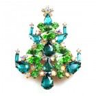 Rivoli Xmas Tree Brooch ~ Green Emerald