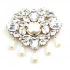 Marquis Brooch ~ Clear Crystal with Beads