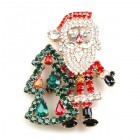 Santa with Tree Brooch