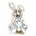 Bunny Easter Brooch Medium ~ Clear Crystal