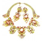 Iris Grande Necklace Set ~ Yellow Jonquil Pink