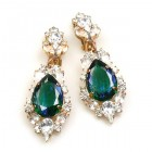 Grand Mythique Clips-on Earrings ~ Crystal Emerald