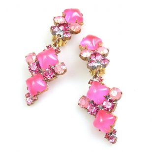Bubbles Earrings with Clips ~ Neon Pink