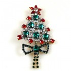 Xmas Tree with Bow Pin ~ Clear Emerald Red