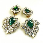 Lioness Clips-on Earrings ~ Clear with Emerald