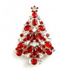Xmas Tree Brooch #16 ~ Red Clear