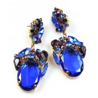 Fiore Pierced Earrings ~ Blue Ovals with Purple