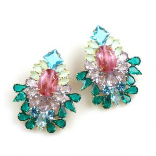 Elegancy Earrings with Clips ~ Old Rose Emerald