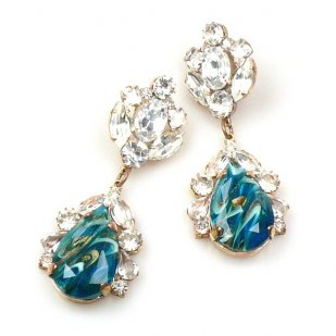 Fountain Earrings Pierced ~ Crystal Extra Turquoise Aqua