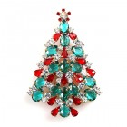 Xmas Tree Brooch #16 ~ Emerald Clear Red