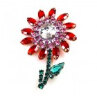 Flower Pin Medium ~ Red Pink