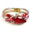 Fountain Clamper Bracelet ~ Clear Crystal with Red