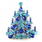 Xmas Tree Brooch #03 ~ Blue Aqua