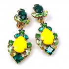 Déjà vu Clips Earrings ~ Extra Yellow with Emerald