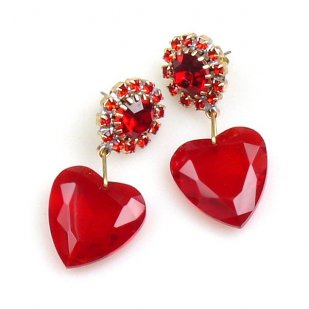 Hearts ~ Red Dangling Valentine Earrings for Pierced Ears