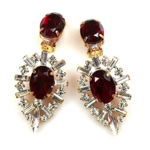Ella Earrings Clips ~ Baguettes and Ovals ~ Ruby