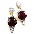 Taj Mahal Earrings Clips ~ Clear with Silver Ruby Red