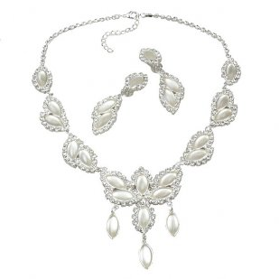 Princess Necklace Set ~ White ~ Silver Plated
