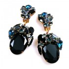 Fiore Clips Earrings ~ Black Ovals with Montana Blue