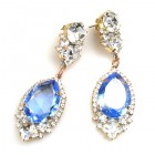 Tears Pierced Earrings ~ Crystal Sapphire Blue
