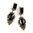 Allisa Earrings Pierced ~ Black with Smoke