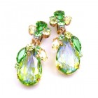 Fountain Multicolor Earrings Clips ~ Silver Lime Green