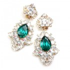 Beaute Earrings with Clips ~ Crystal with Silver Emerald